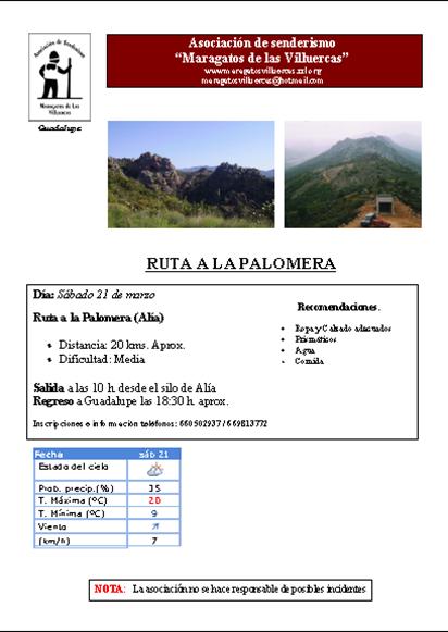 Ruta a la Palomera